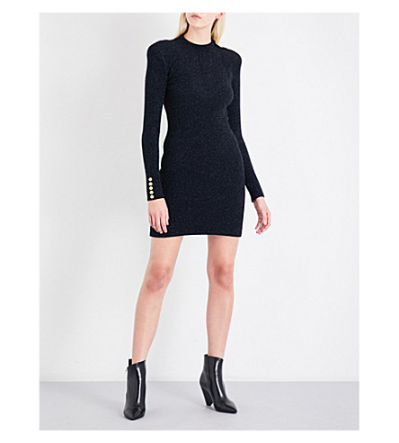 BALMAIN High-neck metallic knitted dress (Noir