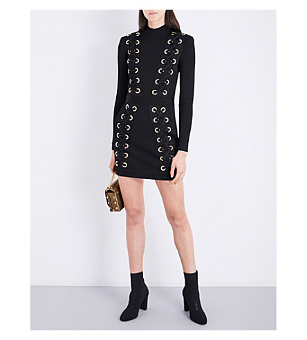 BALMAIN Lace-up high-neck knitted dress (Noir