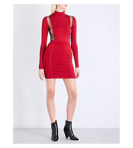 BALMAIN Stud-detailed sheer-panel knitted dress (Dark+red