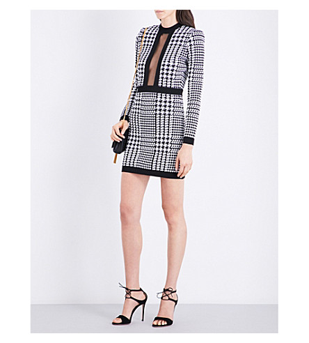 BALMAIN Houndstooth round-neck knitted dress (White/black