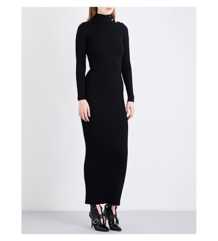 BALMAIN Turtleneck merino wool dress (Noir