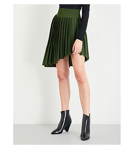 BALMAIN Asymmetric pleated high-rise knitted skirt (Kaki