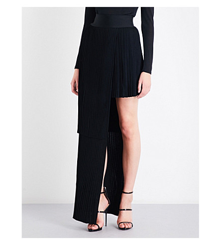 BALMAIN Asymmetric-panel pleated high-rise knitted maxi skirt (Noir
