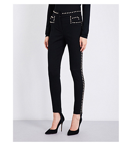 BALMAIN Stud-embellished skinny high-rise jeans (Noir
