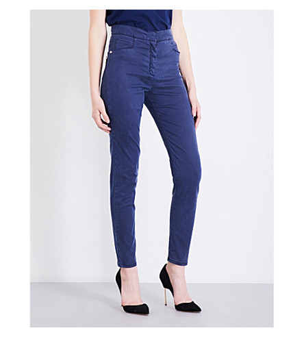 BALMAIN Button-detail skinny high-rise jeans (Bleu+nuit
