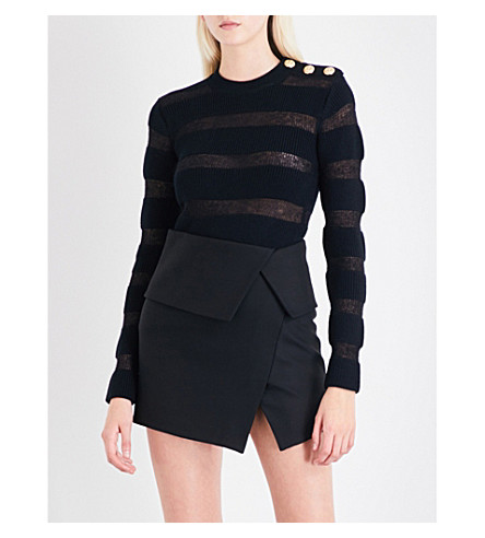 BALMAIN Button-detail striped wool-blend jumper (Noir