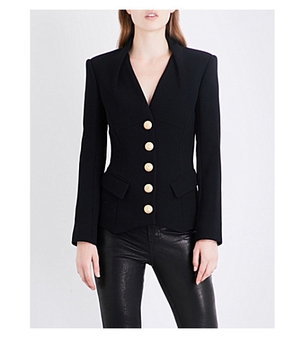 BALMAIN Single-breasted wool and silk-blend blazer (Noir