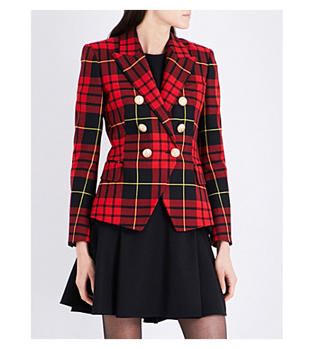 BALMAIN Tartan double-breasted wool-twill blazer (Red+tartin
