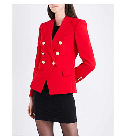 BALMAIN Double-breasted crepe blazer (Red