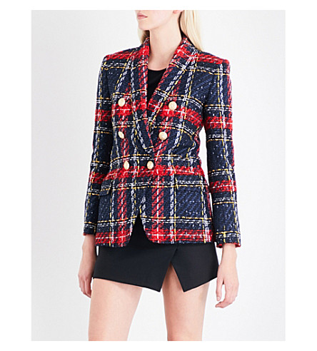 BALMAIN Checked double-breasted tweed blazer (Multicolour