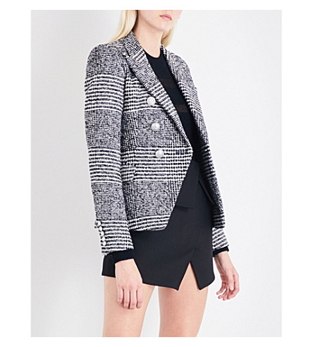 BALMAIN Houndstooth double-breasted tweed blazer (Noir/naturel