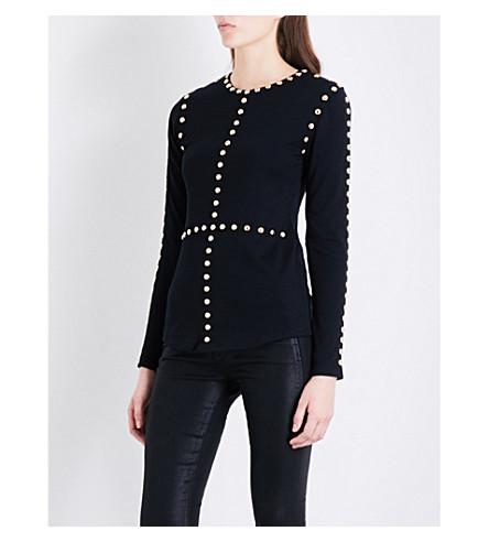 BALMAIN Stud-detailed wool and silk-blend jumper (Noir