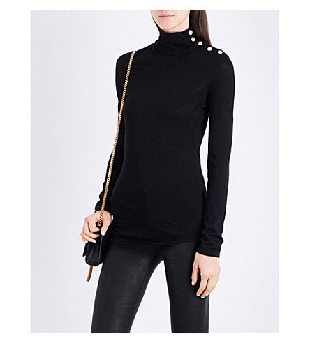 BALMAIN Button-detailed turtleneck wool jumper (Noir