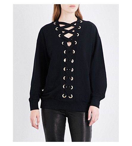 BALMAIN Lace-up cotton-jersey sweatshirt (Noir