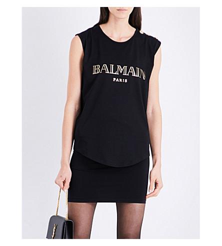 BALMAIN Logo-print cotton-jersey top (Noir