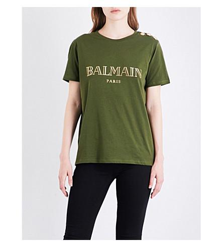BALMAIN Button-detailed logo-print cotton-jersey T-shirt (Kaki