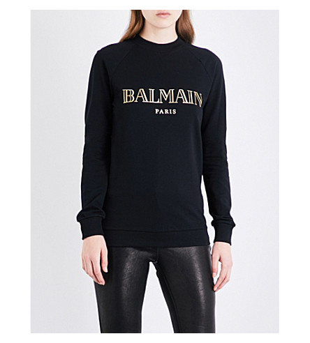 BALMAIN Metallic logo-print cotton-jersey top (Noir