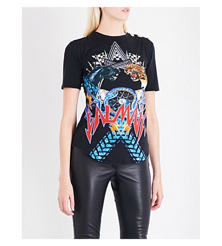 BALMAIN Animal and logo-print cotton T-shirt (Black+multi