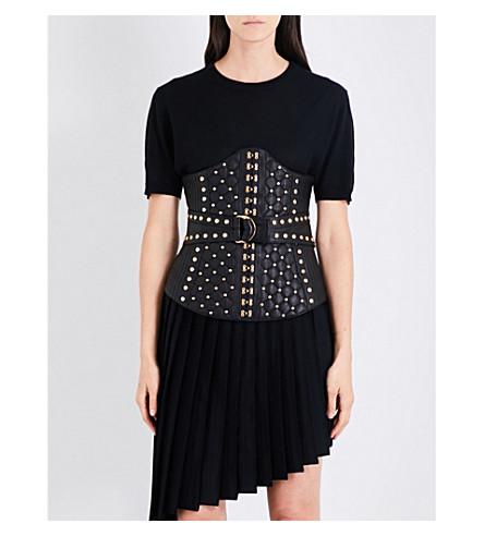 BALMAIN Stud-embellished leather corset (Noir