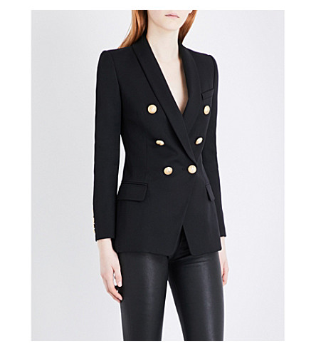 BALMAIN Double-breasted wool-twill blazer (Black