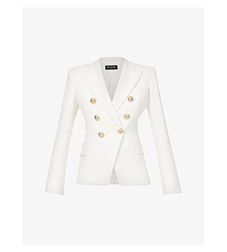 BALMAIN Double-breasted cotton-piqué jacket (Blance