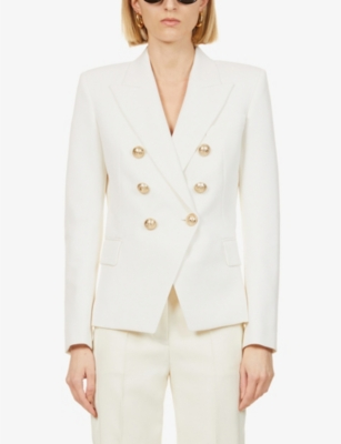 Double-breasted cotton-piqué jacket