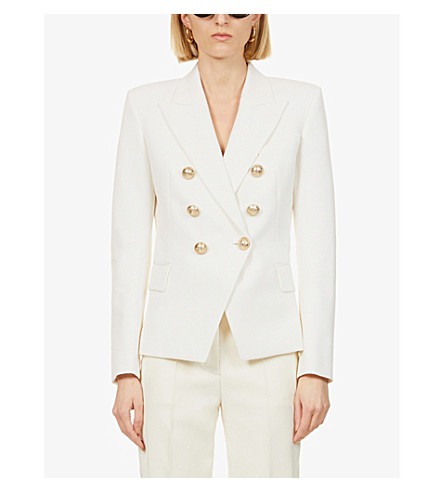 BALMAIN Double-breasted cotton-piqué jacket (Blance