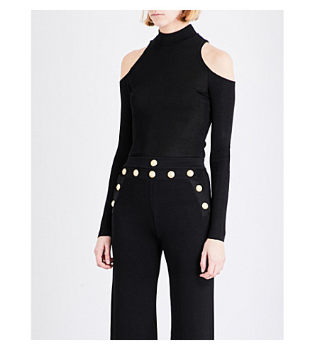 BALMAIN Cold-shoulder knitted top (Black