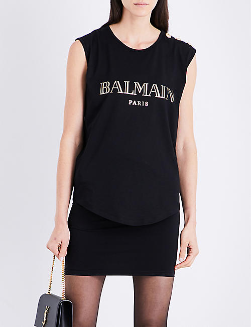 BALMAIN Logo-print cotton-jersey top