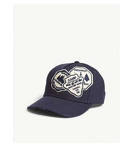 DSQUARED2 Felt badges cotton strapback cap (Navy
