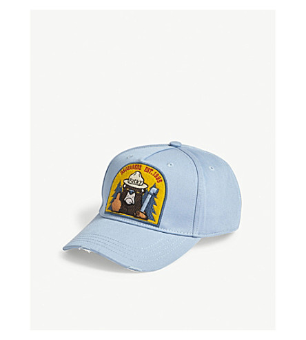 DSQUARED2 Bear patch cotton strapback cap (Azzurro