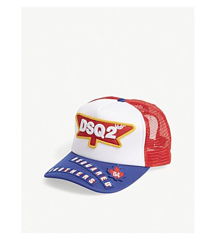 DSQUARED2 Logo trucker snapback cap (Bianco+rosso