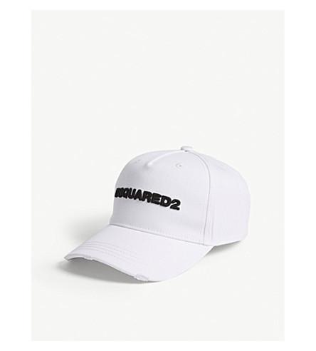 DSQUARED2 Logo cotton strapback cap (Bianco+nero