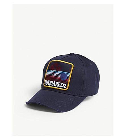 DSQUARED2 Palm patch cotton strapback cap (Navy