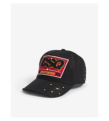 DSQUARED2 Logo-embroidered cotton strapback cap (Nero