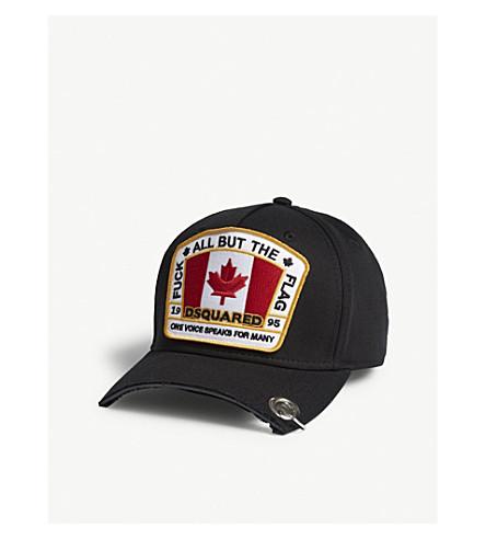DSQUARED2 标志补丁棉 strapback 帽 (黑色