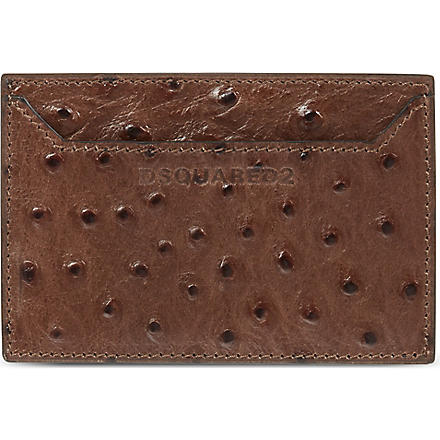 D SQUARED Ostrich-embossed card holder (Brown