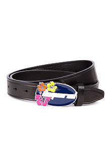 D SQUARED Flower-logo leather belt