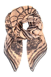 D SQUARED Skull and web-print scarf