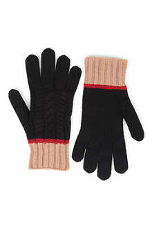 D SQUARED Cable knit striped gloves