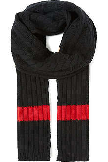 D SQUARED Striped knitted scarf