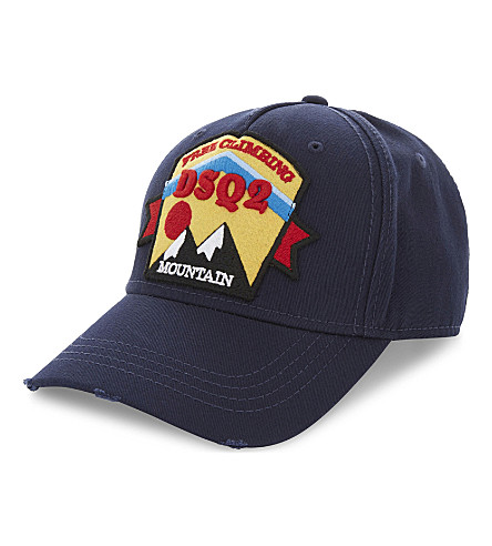 DSQUARED2 Mountain patch cotton strapback cap (Navy
