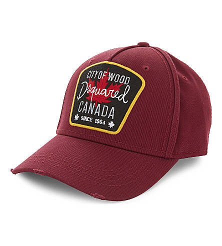 DSQUARED2 Canada patch cotton strapback cap (Red