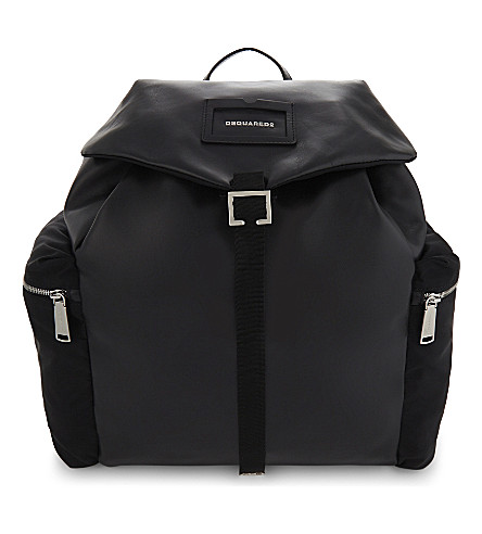 DSQUARED2 Large leather backpack (Nero