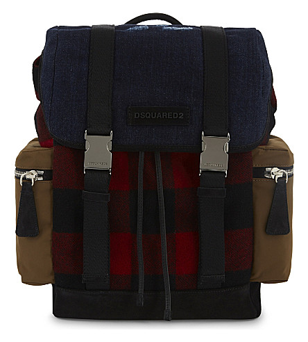 DSQUARED2 Check and denim backpack (Check+++denim