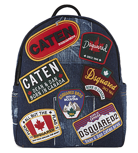 DSQUARED2 Badge denim backpack (Blue
