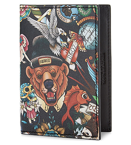 DSQUARED2 Bear tattoo print leather card holder (Multi