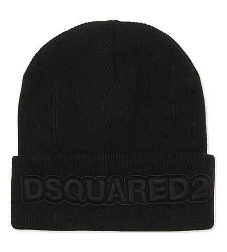 DSQUARED2 Embroidered wool beanie hat (Nero