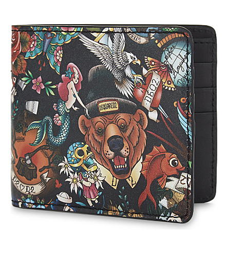 DSQUARED2 Bear tattoo print wallet (Multi