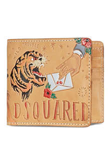 D SQUARED Tattoo print leather wallet